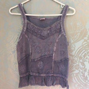 Shoreline Purple Boho Tank Top Blouse Embroidered